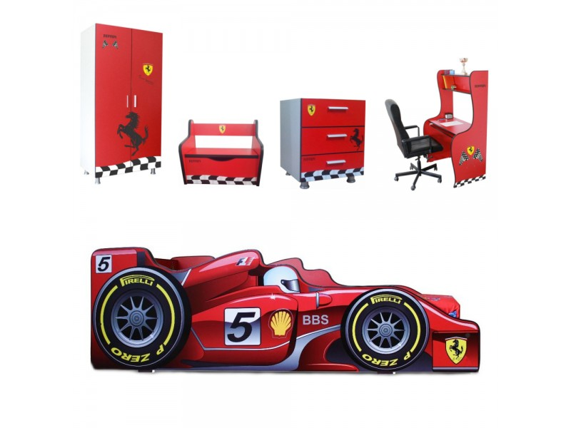 Pachet Dormitor Complet Copii Ferrari Mare - 2-12 ani