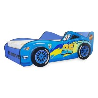 Pat Copii Fulger 3D Blue Mare 160x80 - 2-12 ani