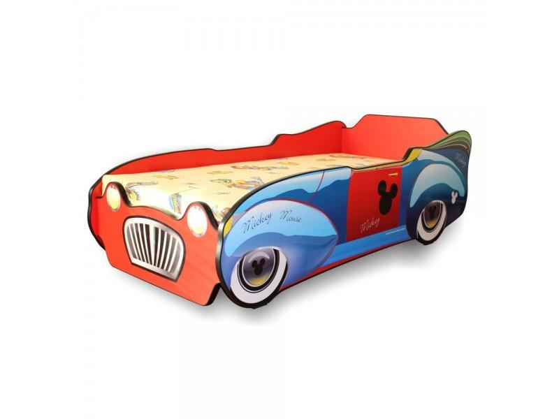 Pachet Pat Copii Mickey Car Mare + Saltea Spuma 160x80x12 - 2-12 ani