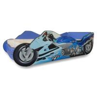 Pat Copii Moto Blue Mare 160x80 - 2-12 ani