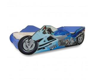 Pachet Pat Copii Moto Blue Mare + Saltea Spuma 160x80x12 - 2-12 ani