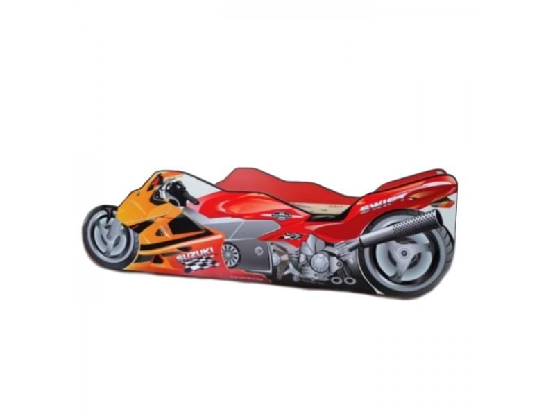 Pachet Pat Copii Moto Red Mare + Saltea Spuma 160x80x12 - 2-12 ani