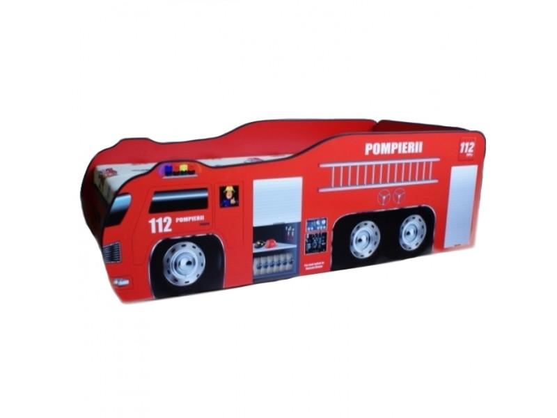 Pachet Pat Copii Pompierii 1 Mare + Saltea Spuma 160x80x12 - 2-12 ani