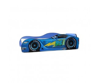 Pachet Pat Copii Speed Blue Mare + Saltea Spuma 160x80x12 - 2-12 ani