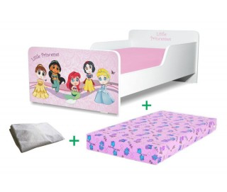 Pachet Pat copii Little Princesses Mare + Saltea Spuma 160x80x12cm + Husa Impermeabila - 2-12 ani