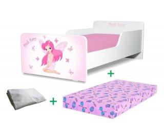 Pachet Pat copii Start Pink Fairy Mic + Saltea Spuma 140x70x12cm + Husa Impermeabila - 2-8 ani