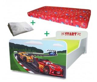 Pachet Pat copii Start Racing Mic + Saltea Spuma 140x70x12cm + Husa Impermeabila - 2-8 ani
