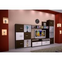 Biblioteca Toledo - Mobila Living - Culoare Alb / Wenge - 276x40x180cm