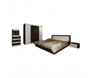 Set Dormitor Complet Afrodita - Wenge / Alb - Sifonier + Pat + Comoda + Noptiere