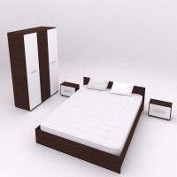 Set Dormitor Complet Hera - Culoare Wenge / Alb - Sifonier + Pat + Noptiere