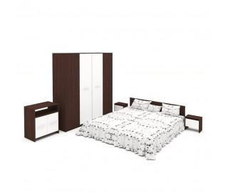 Set Dormitor Complet Mirela Wenge - Culoare Alb / Wenge - Sifonier + Pat + Noptiere + Comoda