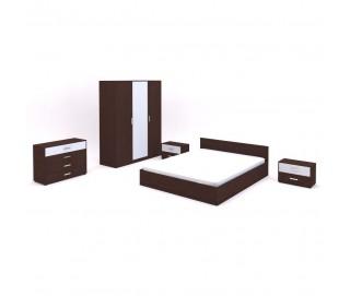 Set Dormitor Complet Stasy Wenge - Culoare Alb / Wenge - Sifonier + Pat + Noptiere + Comoda