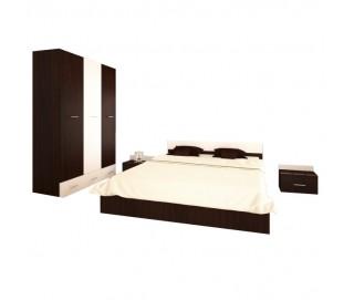 Set Dormitor Complet Viktoria Wenge - Culoare Wenge - Sifonier + Pat + Noptiere